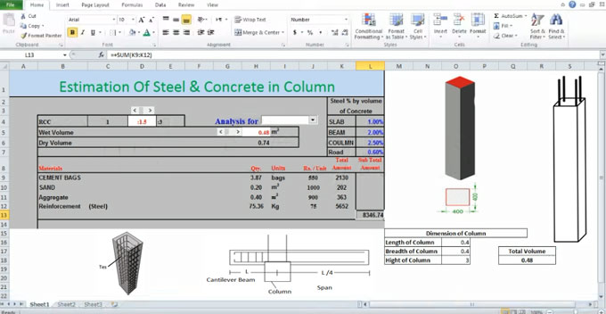 How to calculate the quantity of steel and concrete in concrete column