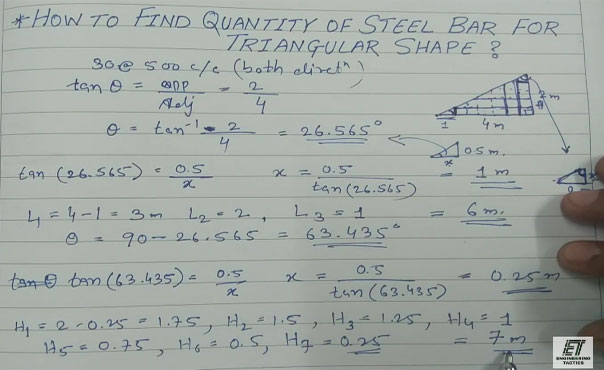 How to find out the quantity of steel in a triangular shape