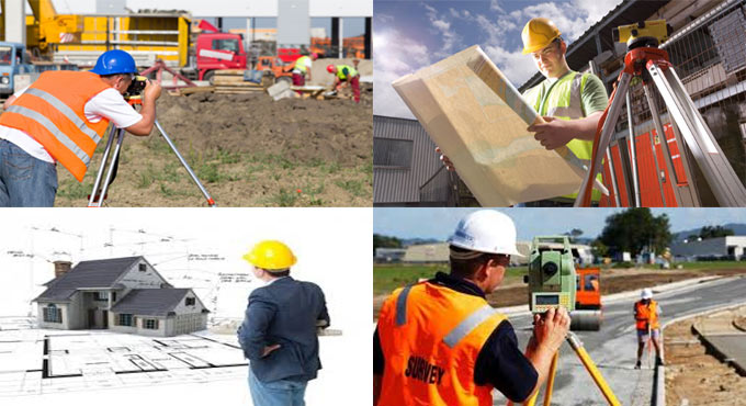 Various types of professionals engaged in construction surveying