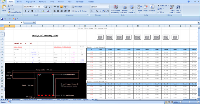 Download T-Beam Design Excel Sheet | Concrete T-Beam Design