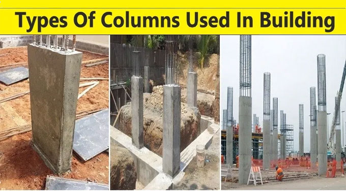 Different types of columns used in construction