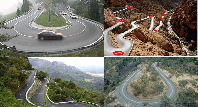 Types of curves found in hill road