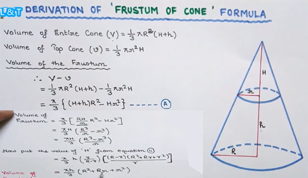 How to derive the formula to obtain the volume of the frustum of a cone