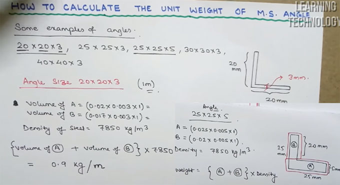 How to find out the unit weight of mild steel angles