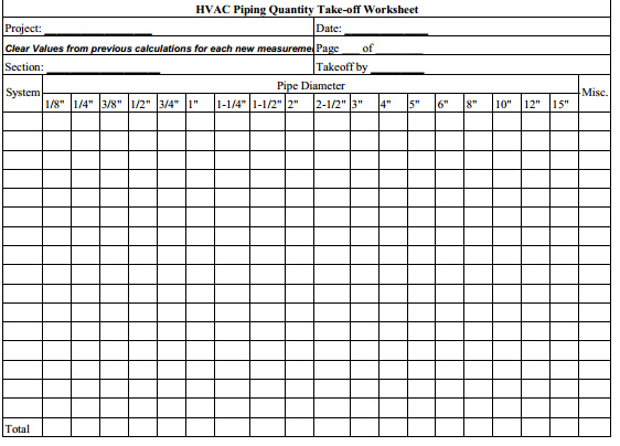 Construction estimating hvac piping sheets for Take off sheet template