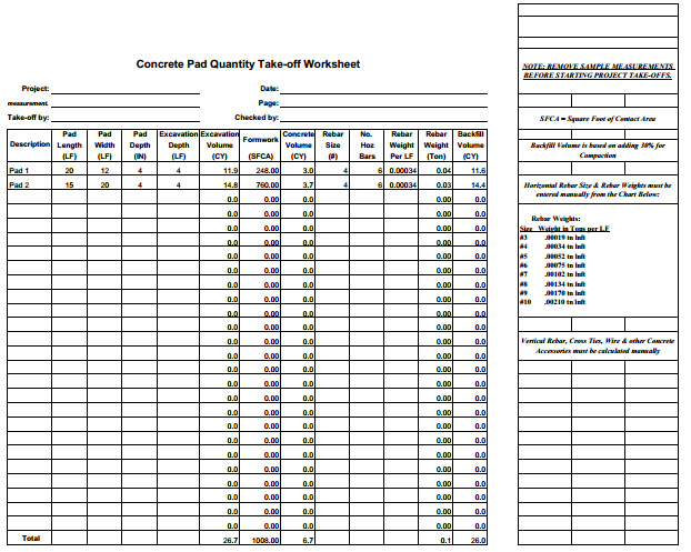 Construction Estimating Sheets