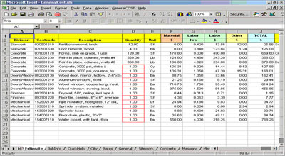 Construction estimating construction take off sheets for Material list for building a house spreadsheet