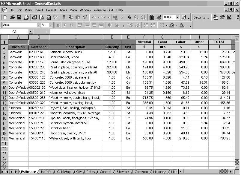 general cost estimating sheet