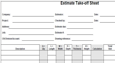 Project Estimating Sheets – Job Estimate Sheet