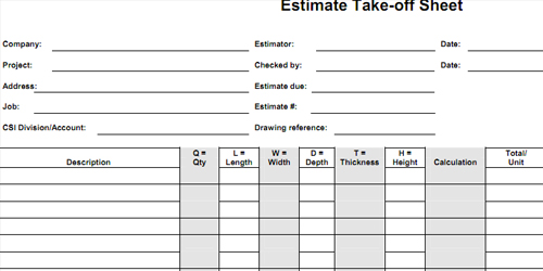 Bid Form | Estimate Worksheet | Cost Sheet | Estimate Format
