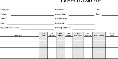 bid form estimate worksheet cost sheet estimate format. Black Bedroom Furniture Sets. Home Design Ideas