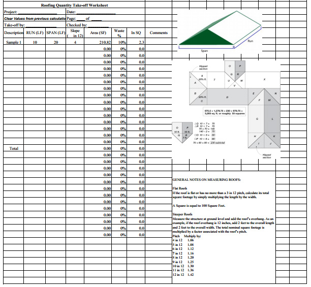 roofing quantity takeoff sheet