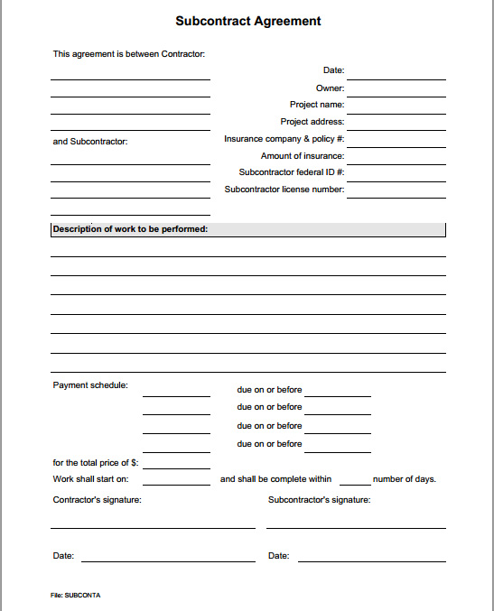Subcontract agreement form for Subcontracting contract template