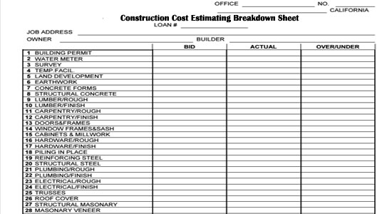 Construction cost estimating breakdown sheet for Estimation construction