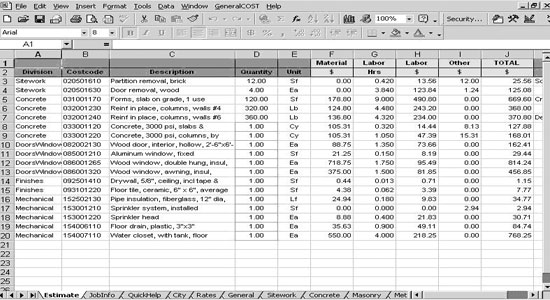 Roof Cost Estimation General Construction Sheet